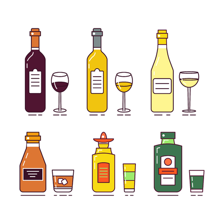 Vector flat illustration with alcoholic drinks set isolated on a white background. Very easy to edit. Good bar concept.