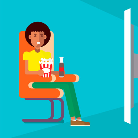 movie screen: Man sitting on a chair watching, drinking and eating near the big screen.   Vector flat illustration. Good concepr for cinema and movie marketing. Illustration