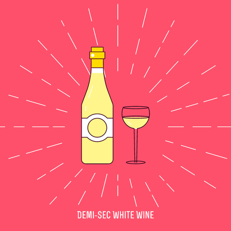 bocal: Wine bottle and wine glass isolated on pink background. Vector icon or sign. Illustration