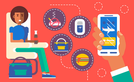 airway: Cool vector concept design on choosing airplane cabin seat and flight conditions using mobile device or web application featuring cabin seat, mobile device in hand with airplane on screen. Flat illustration.