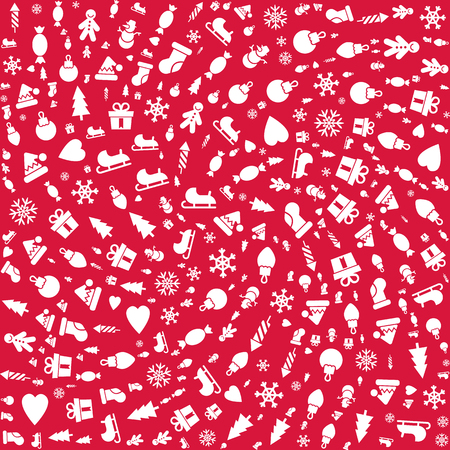 omela: Merry Christmas pattern, Happy New Year background .Classic elements Christmas pattern winter background. Holidays icons.