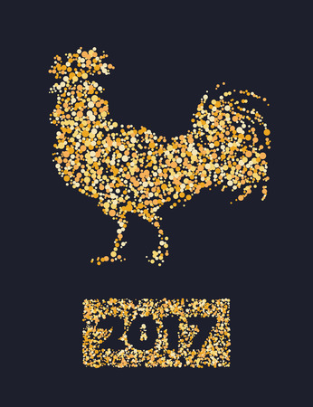 chinese new year element: Chinese calendar for year of rooster 2017. Cock - Symbol of New Year 2017. vector illustration. Decorative ornament and glyph shape fill. Illustration