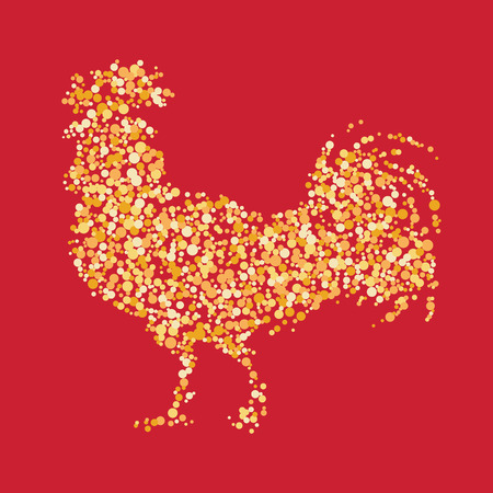 natural cock: Chinese calendar for year of rooster 2017. Cock - Symbol of New Year 2017. vector illustration. Decorative ornament and glyph shape fill. Illustration