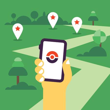Hand met mobiele telefoon vlakke afbeelding met de GPS-tags en de weg te gaan. Vlak ontwerp, heet thema