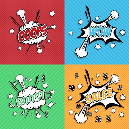 Ooops, wow, les ventes, Boost! libellé bulle comique dans le style pop art sur fond éclater la moitié de ton. Super concept de promo.
