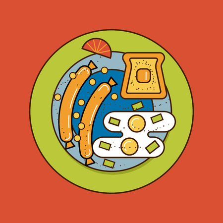breakfast plate: The breakfast plate vector illustration isolated on background. Eggs with the sausages and toast. Classical, popular european meal. Flat line design. Great colores.