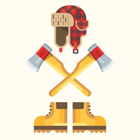execution: The lumberjack equipment icon set. Vector flat design illustration. Interesting execution and design. Good colors Illustration