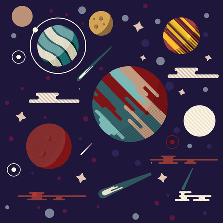 meteors: Planets in space vector illustration. Abstract planets icon in flat style. Planets galaxy on dark background. Comets, stars, meteors and other universe symbols.