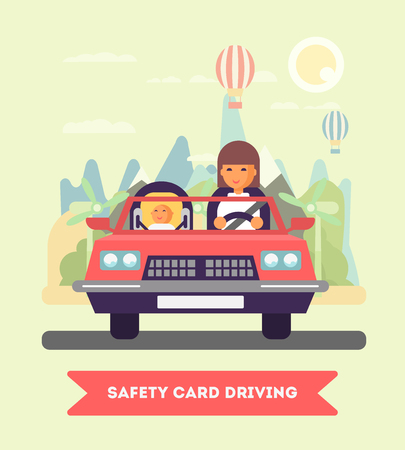 mother board: Mother and the child seating in the car vector flat design illustration. Baby on board. Safety driving. Goes to the trip. Flat design illustration. Eco lifestyle concept Illustration
