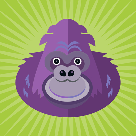 Portrait of a gorilla made in trendy flat style vector. African animal. Safari label or t-shirt design with gorgeous and cute animal character. Illustration
