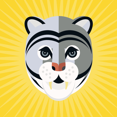 puma: Portrait of a puma made in trendy flat style vector. African animal. Safari label or t-shirt design with gorgeous and cute animal character. Illustration