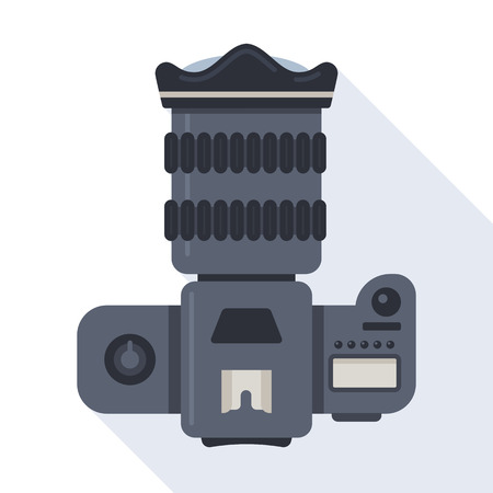dslr: Professional dslr photo camera top view vector illustration in flat style with long shadow on blue background Illustration