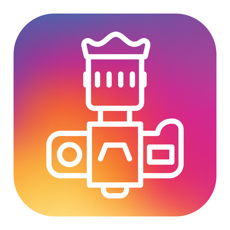 Professional dslr photo camera front view vector icon in linear style with rainbow gradient colors.