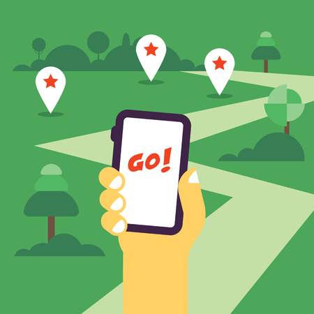 handholding: Hand holding mobile phone flat illustration with the gps tags and road to go. Flat design, hot theme Illustration