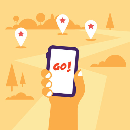 Hand holding mobile phone flat illustration with the gps tags and road to go. Flat design, hot theme Illustration