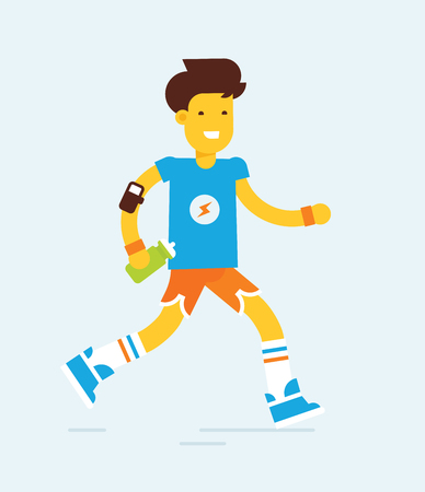 exersice: Modern flat design style illustration of a runner with the electronic sensor and bottle of water. Trendy colors. Good concept and idea for runners and fitness illustrations.