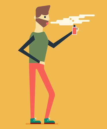 women smoking: Trendy man isolated on background and smoking electronic cigarette. Great character concept. Good colors. Flat design vector illustration. Icon design.