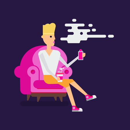 smoking woman: Vaper woman character seatting in a modern style chair and vaping a cigarette. Flat design. Good colors. Fasion style vector illustration. Illustration