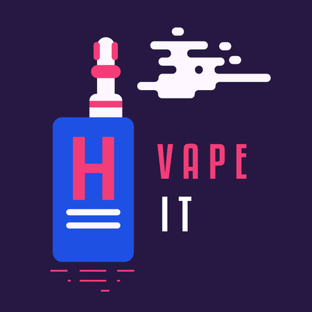 vaporizer: Electronic vaporizer styled in a trendy colors isolated on background. Flat Design. Icon Design. Great colors. Vector Illustration. Cool text.