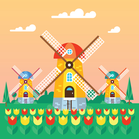 wind mill: The wind mill flat design vector illustration . Welcome to Netherlands poster or greeting card with the wind mill as a central object. Good design great colors.