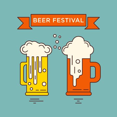 Grand concept de modèle vectoriel avec différents verres de bière. série Octoberfest. illustration unique pour T-shirts, bannières, dépliants, cartes d'invitation et d'autres types de conception d'affaires