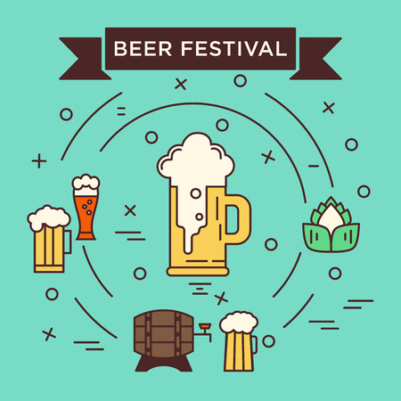 unique concept: Unique concept of vector template with different beer glasses and brewery stuff. Octoberfest series. Unique illustration for t-shirts, banners, flyers, invitation cards and other types of business design