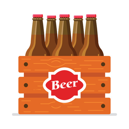 Realistic brown beer bottles set in the wooden box isolated on the white background.