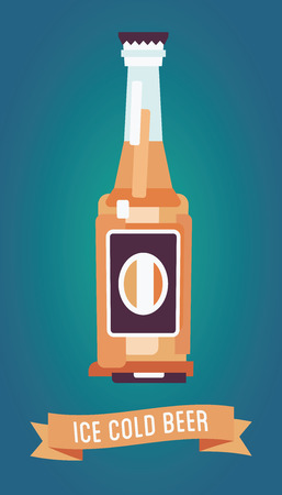The bottle of ice cold light beer with the text and ribbon. Modern flat design. Isolated on a gradient background.