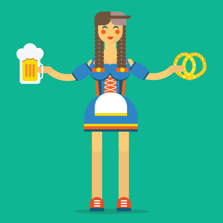 bavarian girl: Young girl in the traditional german or bavarian costume with the glass full of lager light beer and pretzel. Flat design illustration. Isolated on the background. Oktoberfest theme.