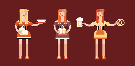 bavarian girl: set of yuong girls characters in a flat style for Oktoberfest. Oktoberfest icons of women in traditional Bavarian costums with native holiday symbols% beer, pretzel, sausages.