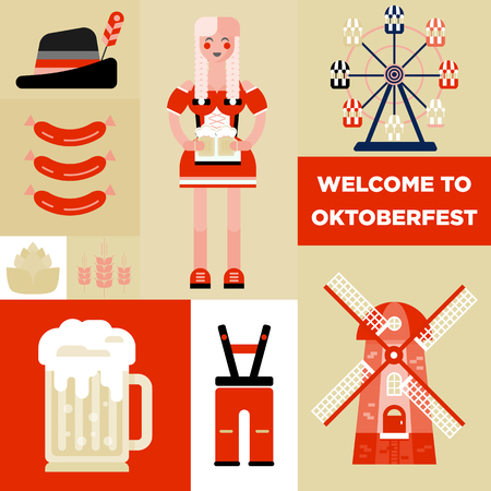 bavarian girl: The icons, symbols of bavarian beer festival - oktoberfest. Young girl in traditional dress, glass of beer, man costume, wind mill, ferris wheel, wheet, sausages and hop. Flat trendy modern  style.