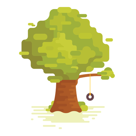 Big green tree with swing isolated on white background. Illustration