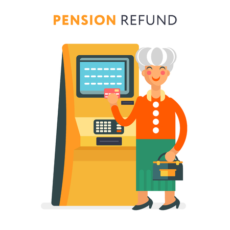 techology: The senior cute and funny woman character standing near the ATM and holding payment card.
