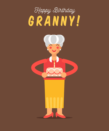 grand parents: The greeting card for grandmother happy birthday. Cute granny with the holiday cake. Celebrate text.