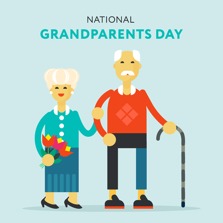 The illustration for national grandparents day -the senior happy couple standing and holding their hands.