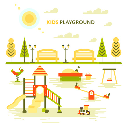 teeter: Childrens playground. Teeter board, swings, sandpit, sandbox, bench, tree house, children slide. Pregnant mother and elder daughter, Baby-themed flat stock illustration with isolated elements.
