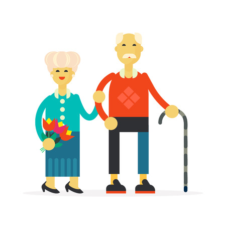 grand parents: The illustration for national grandparents day -the senior happy couple standing and holding their hands. Flat design illustration.
