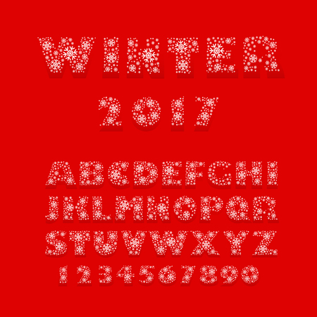 Merry Christmas and Happy New Year Vector font made of snowflakes with shadow.  Latin alphabet from A to Z and numbers from 1 to 0. Fully editable.