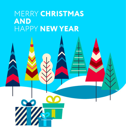 New Year and Christmas greeting card  presents in the forest. Modern styled trees.  Fully editable vector illustration. Perfect for posters, greetings, flayers.