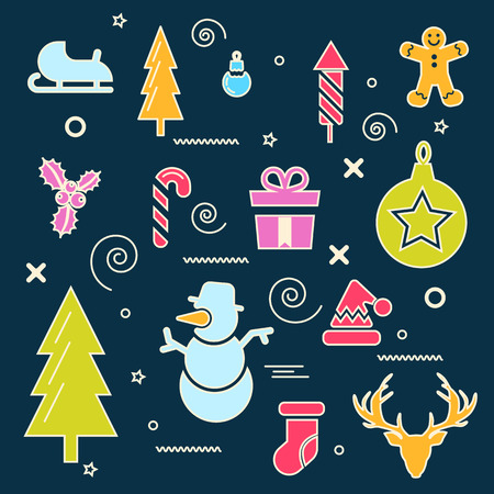 Merry christmas and happy new year winter set. Santa, tiptoe, fireworks, toys, candy, tree, gift, hat, reindeer, skating, gingerbread symbols. Fully editable vector illustrations and icons. Line art.