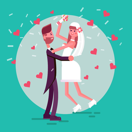 Happy couple in the middle of the circle of light. Illustration of just married girl and man. Bride and groom in the love hearts and confetti. Illustration