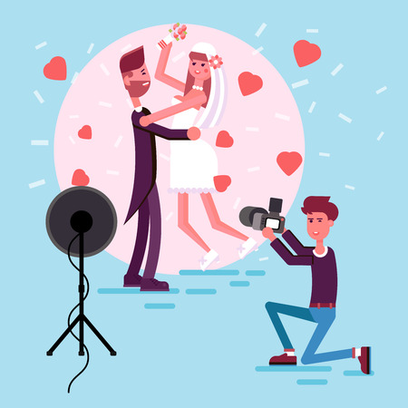 obsession: Happy couple in the middle of the circle of photo light. Illustration of just married girl and man. Bride and groom in the love hearts and confetti. Professional photographer make a picture. Illustration