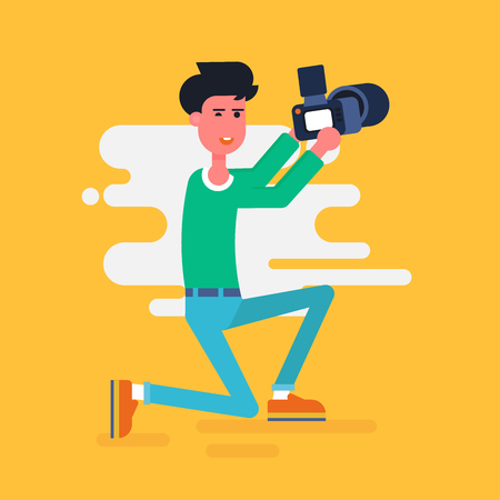 Cool vector photographer character squatting with the camera and taking picture.  Web icon. Flat design vector illustration. Illustration