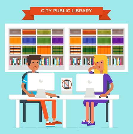 seating: Cool flat design vector illustration with the young man and young woman seating in the library and studying. City public liabrary concept. Good for blog and advertisement.