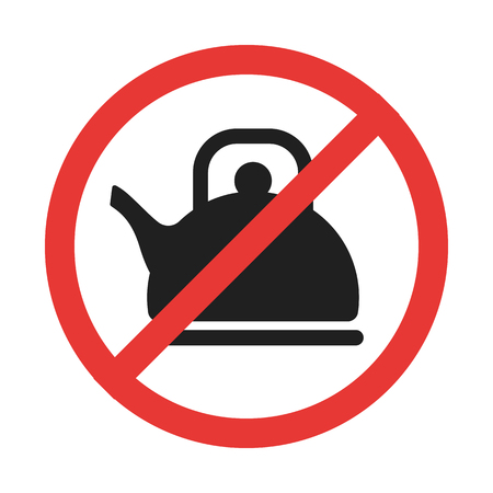 No teapot prohobition sign with the line through red circle. Meaning no russians area. Glyth icon. Good allegory and outdoor sign.