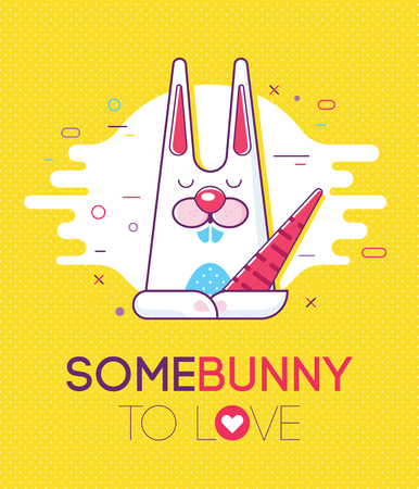 amore: Cool trendy styled colorfull illustration with the cute lovely bunny and the love text. Line art. Trendy colors. Love concept.