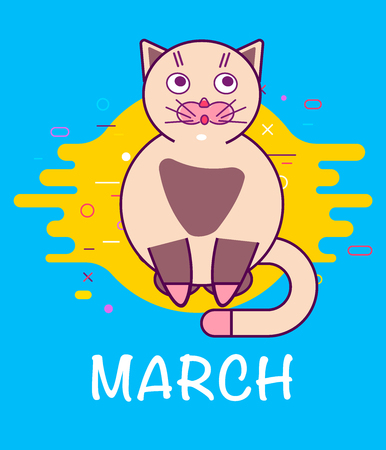 Applique to Womens Day March 8. Cute cat as 8 decimal symbol. Vector background. Outline style.