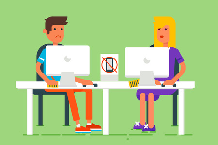 seating: Cool flat design vector illustration with the young man and young woman seating behind the computer and studying. Good for blog and advertisement.