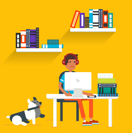 seating: Cool flat design vector illustration with the young man and the dog seating behind the computer and studying. Good for blog and advertisement. Illustration