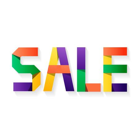 pallette: VENDUES lettres de différentes couleurs. Big Sale, discount, la meilleure offre, étiquettes de prix chauds. Grande palette de couleurs. Effet du papier Illustration